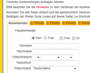 Anmeldeformular der Bischöfe im Web