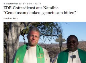 screenshot aus rundfunk.evangelisch.de Zwei Pfarrer in Namibia, die den TV-Fernsehgottesdienst zelebrieren